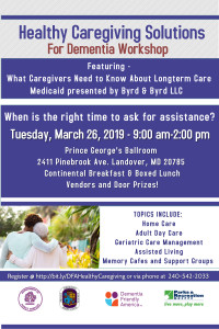 Healthy Caregiving Solutions For Dementia Workshop